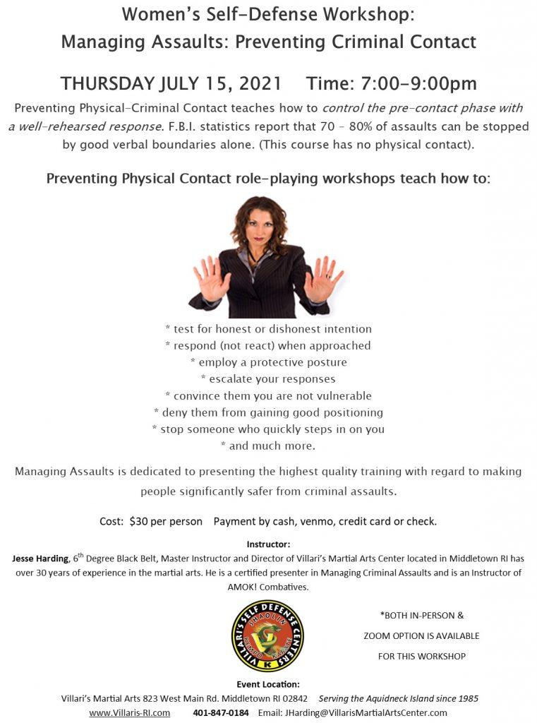 Managing Assaults Workshop JULY 15 2021 villaris-ri.com presented by Jesse Harding