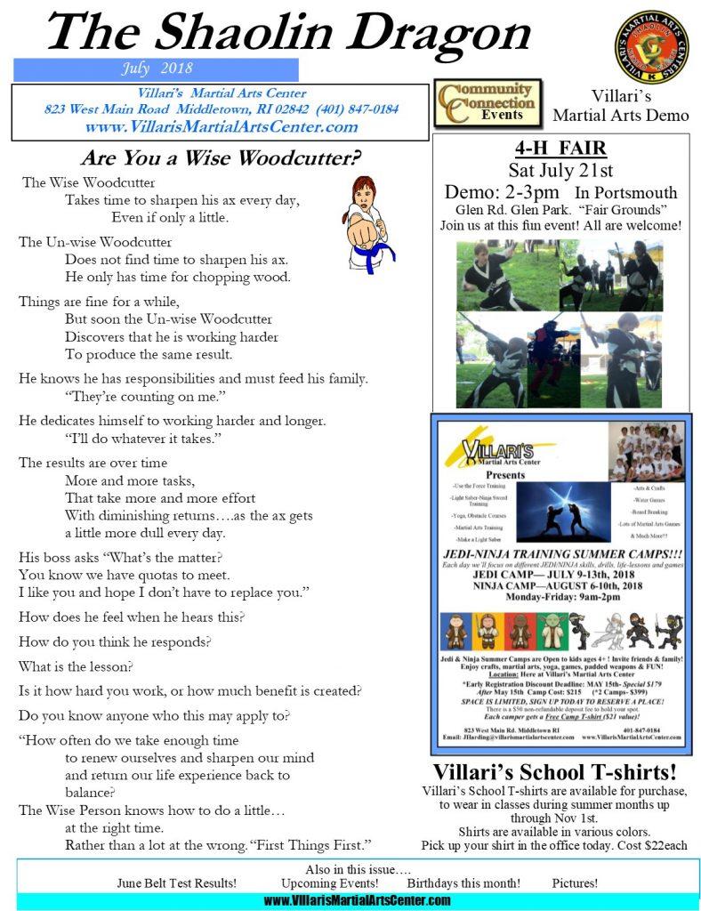 Villari's Martial Arts Newsletter July 2018 p1