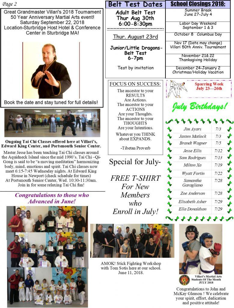 Villari's Martial Arts Newsletter July 2018 p2