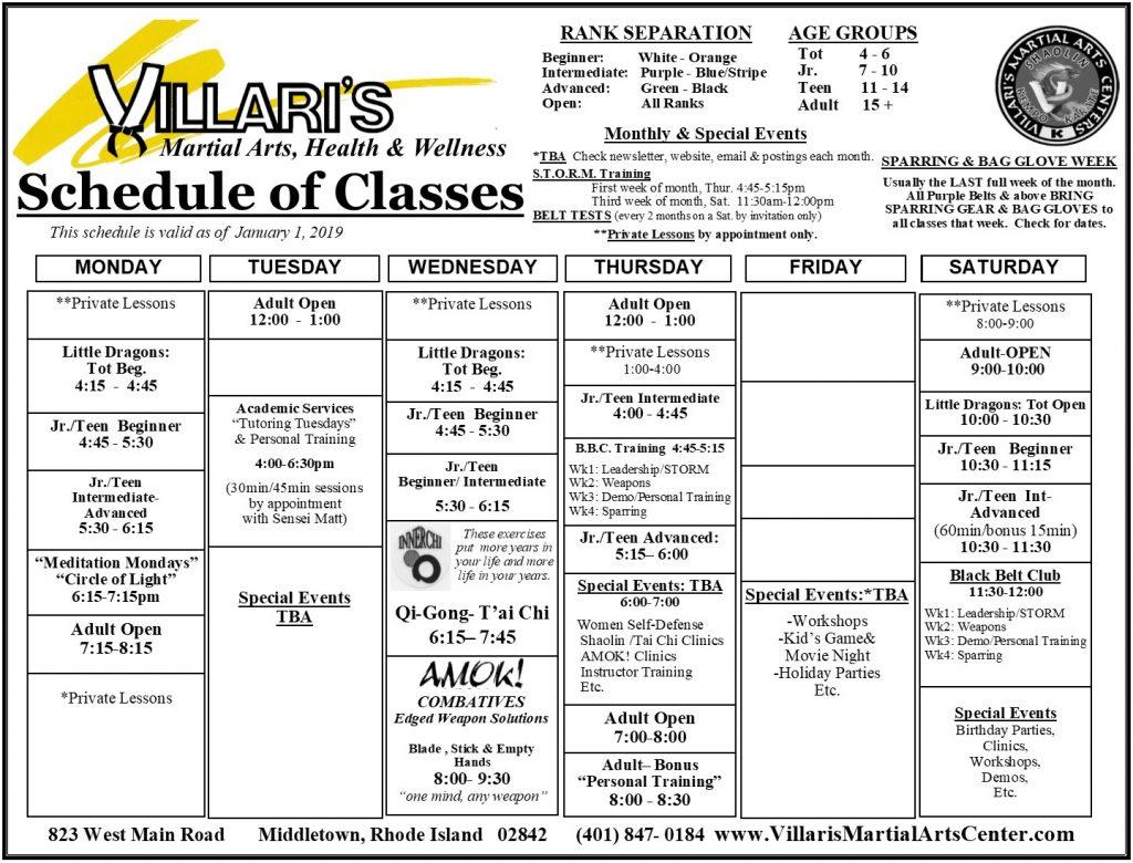 Villari's Martial Arts Schedule 2019 villaris-ri.com Middletown RI