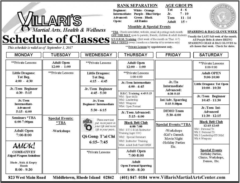 Villari's Schedule Fall Winter 2017