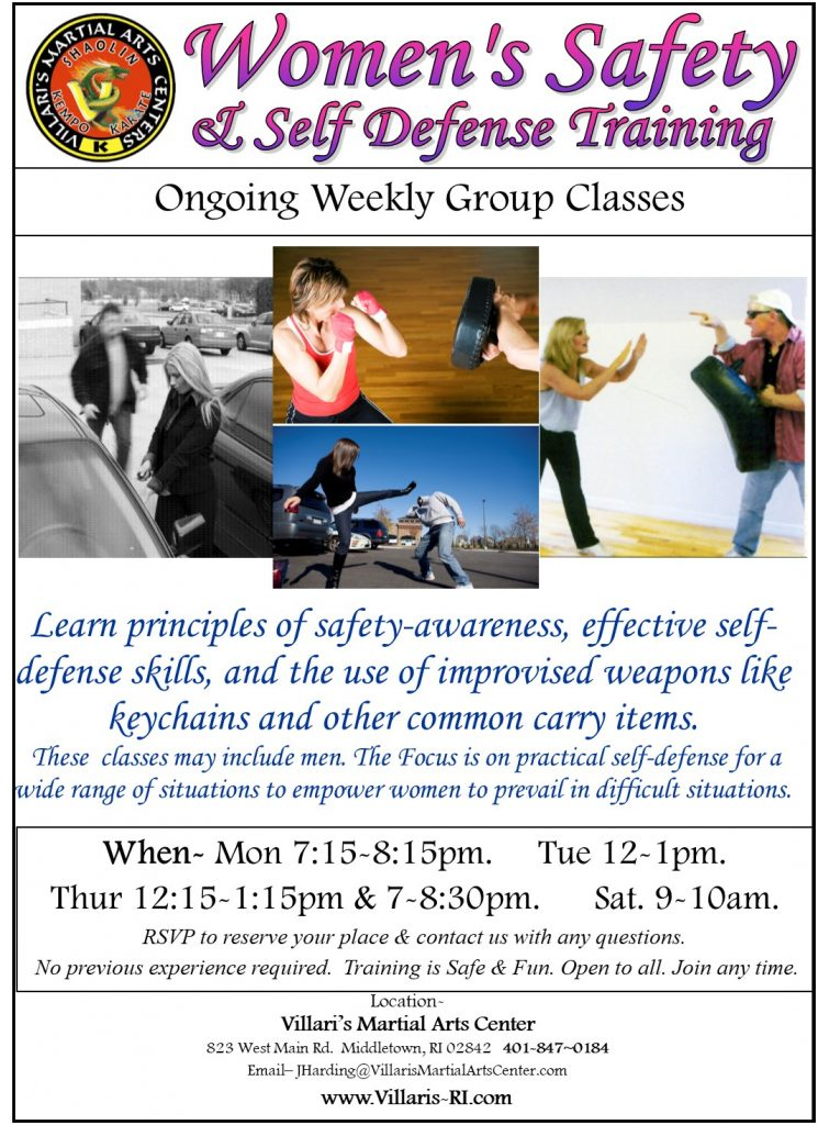 Women self defense safety training weekly classes at Villari's Martial Arts, Middletown RI villaris-ri.com 401-847-0184