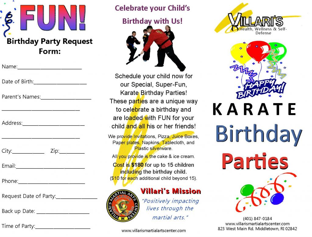 Karate Birthday Party Villari's Martial Arts Middletown RI p1