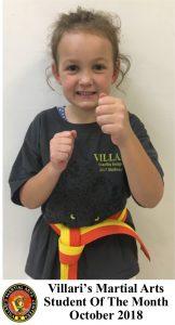 Karma Student of Month OCT 2018 Villari's Martial Arts