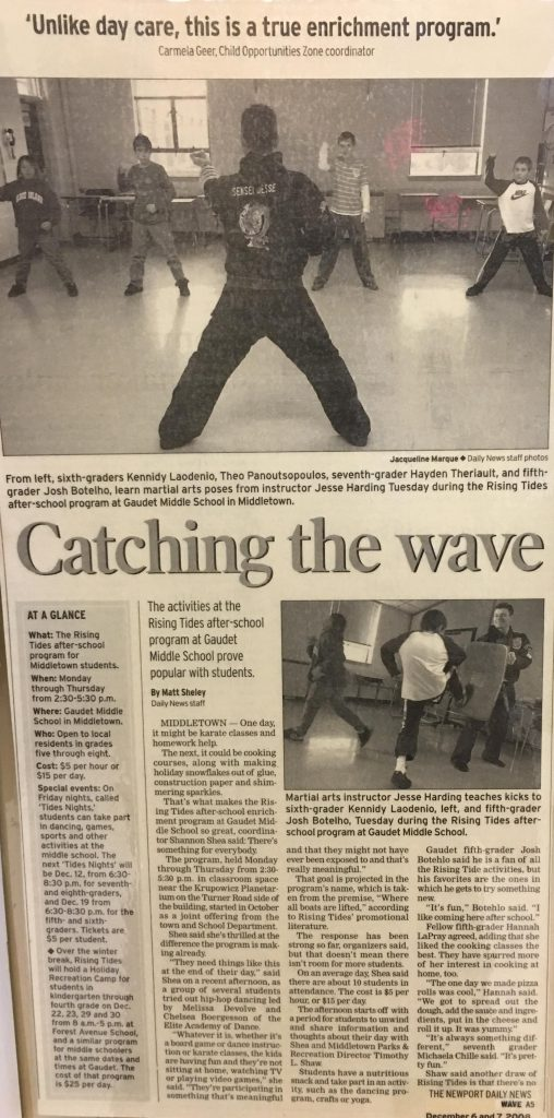 Newspaper Villaris Martial Arts KIDS KARATE Middletown RI