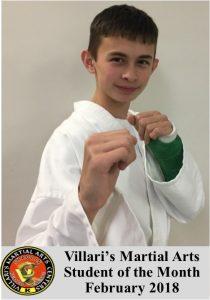 Student of Month Feb 2018 Villari's Martial Arts Middletown RI www.villaris-ri.com