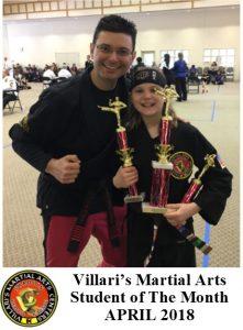 Student of Month Villari's Martial Arts April 2018 Avary Middletown RI Karate Kungfu