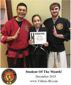 student of month Dec 2019 Villaris Martial Arts