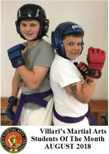 students of month Villari's Martial Arts Karate for kids Middletown RI Aug 2018