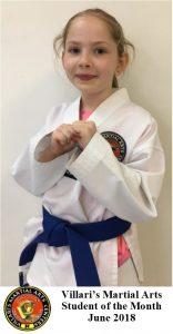villari's martial arts student of month JUNE 2018
