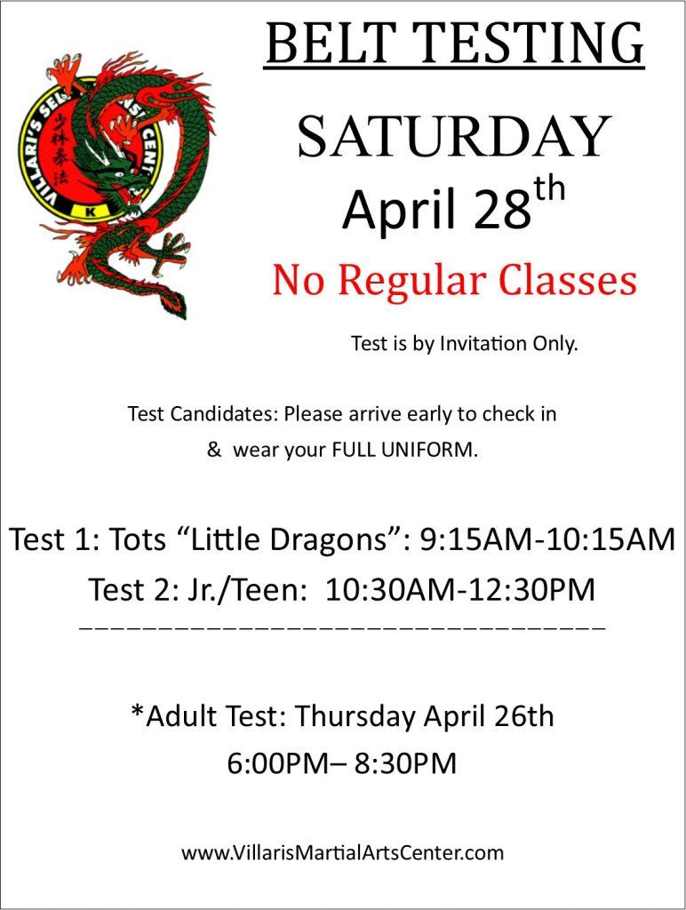 Belt Testing April 28 2018 Villari's Martial Arts Middletown RI