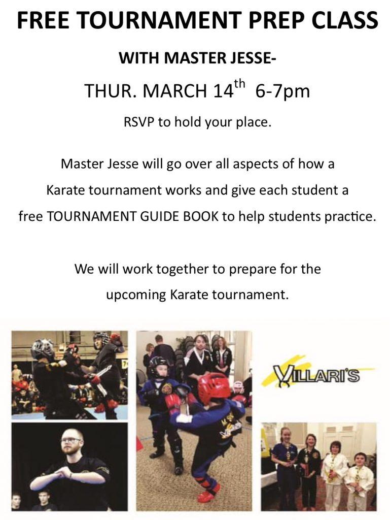 Free Tournament Prep Class THUR Mar 14 6-7pm