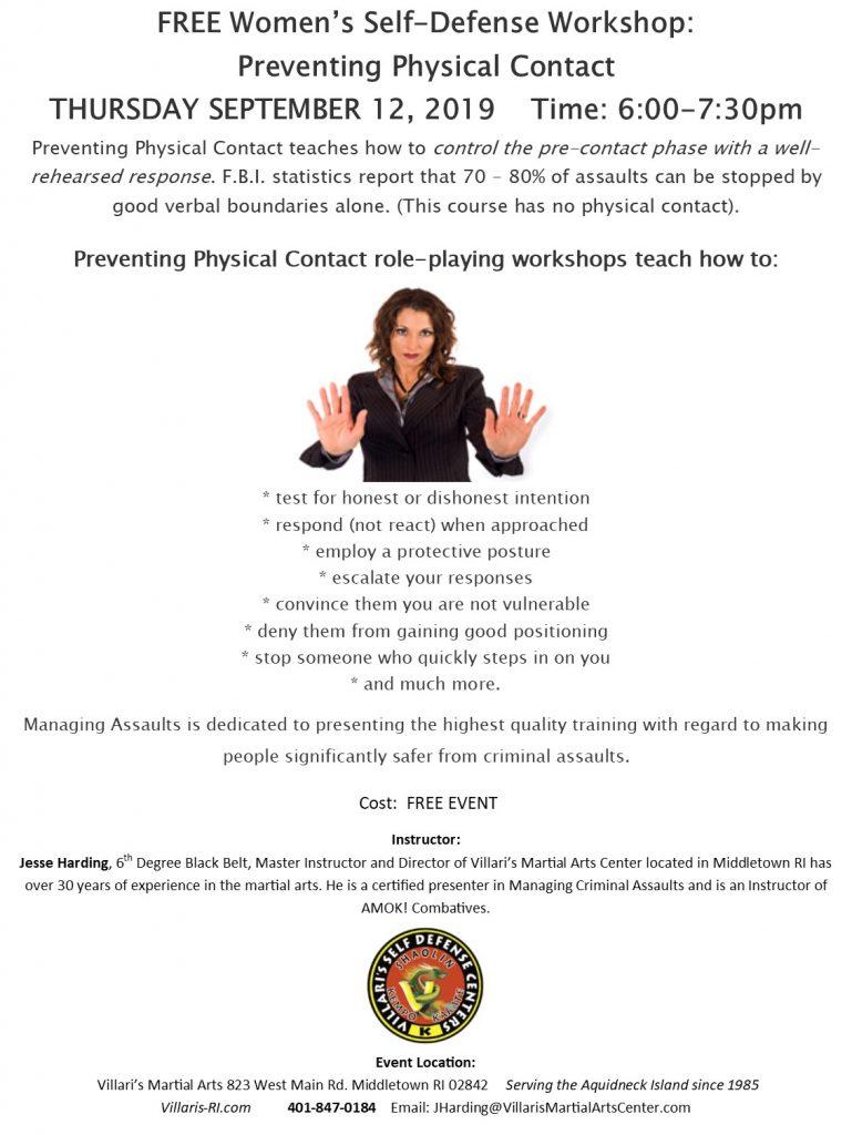 Free Women Self Defense Workshop Villari's Martial Arts villaris-ri.com September 12 2019