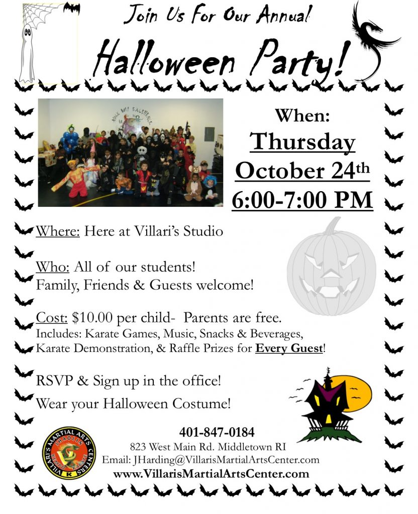 Halloween party Thur Oct 24 2019 villaris-ri.com Villari's Martial Arts