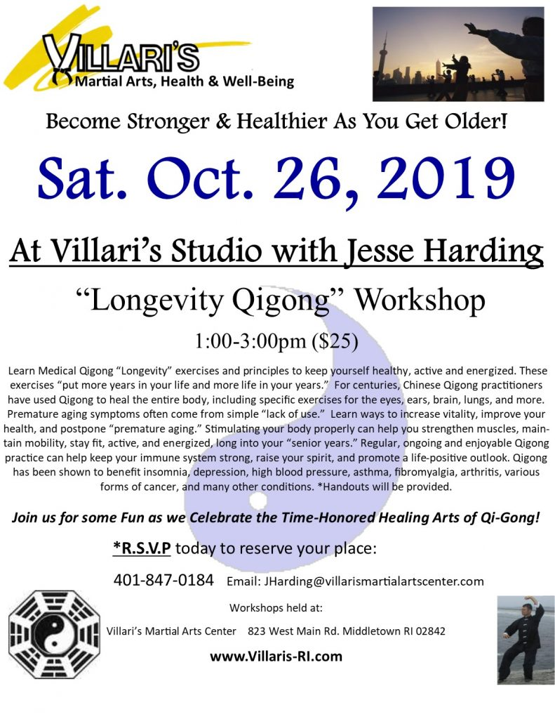 Longevity Qigong Workshop Villari's Studio Oct 26 2019 villaris-ri.com jesse harding