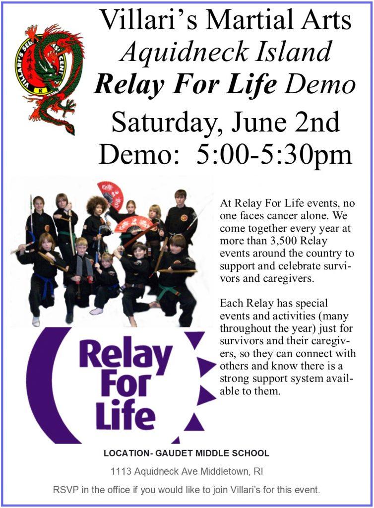 Relay For Life Demo June 2 2018 Villari's Martial Arts Middletown RI Gaudet Middle School