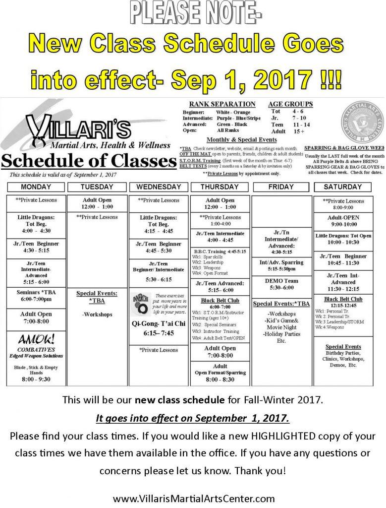 Schedule Change Poster Villari's Martial Arts as of Sep 1 2017