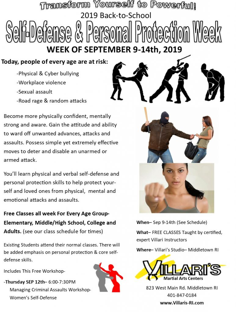 Self Defense Week Villaris Martial Arts villaris-ri.com Middletown RI Jesse Harding