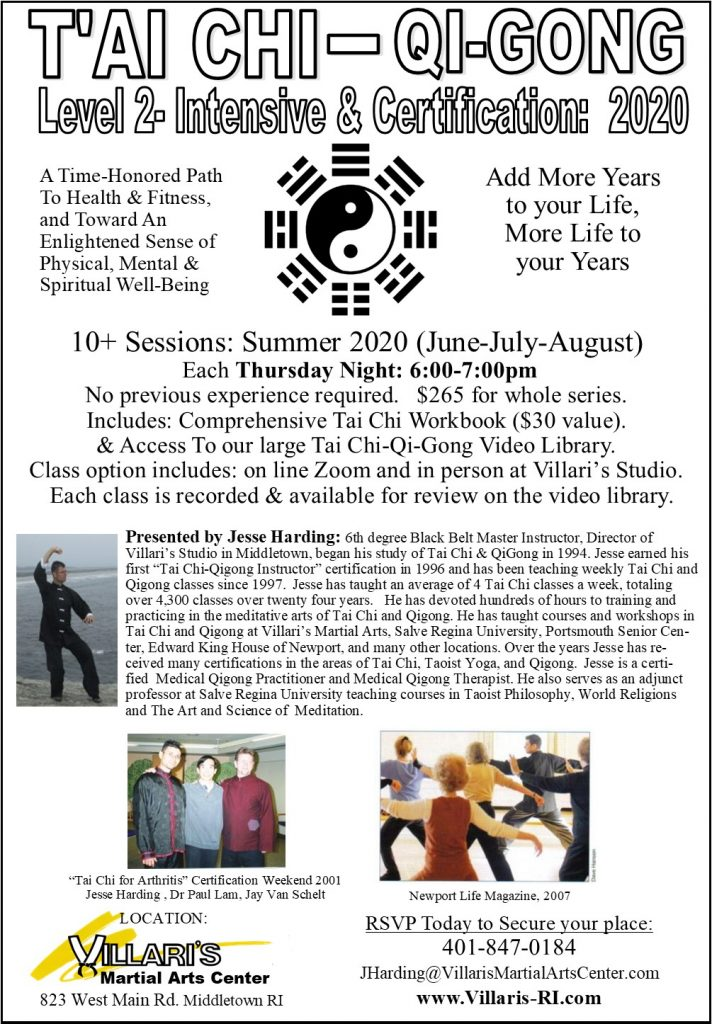 Tai Chi Level 2 Intensive Training Poster Jesse Harding villaris-ri.com Summer 2020 P.1