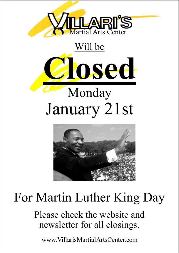 Villari closed MLK day Jan 21 2019