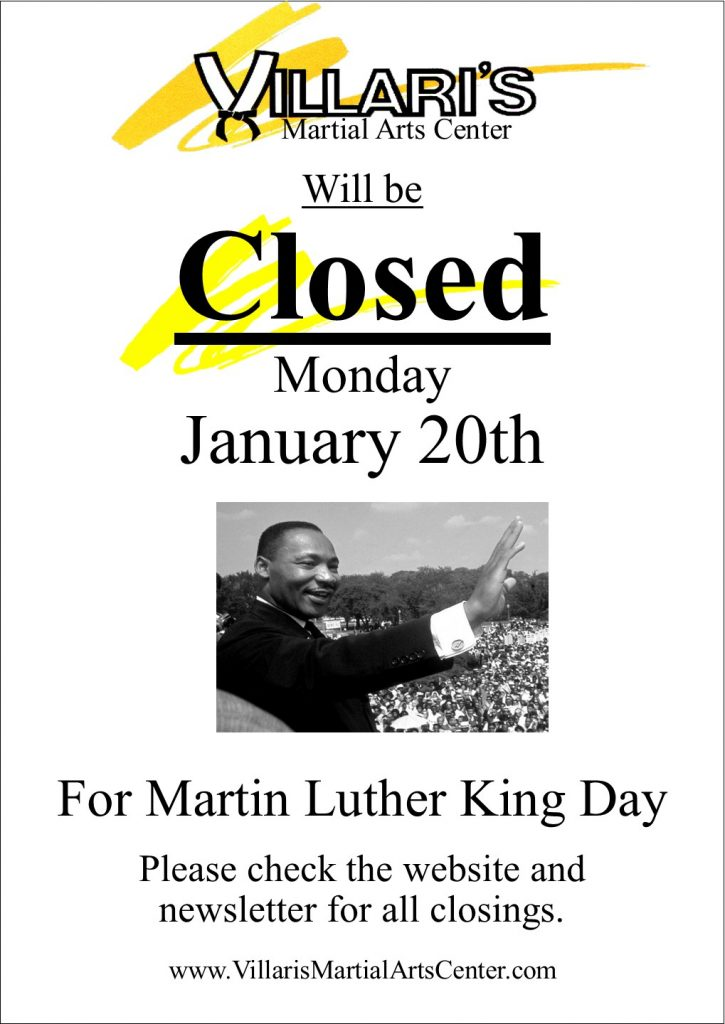 Villaris Closed MLK Day Jan 20th