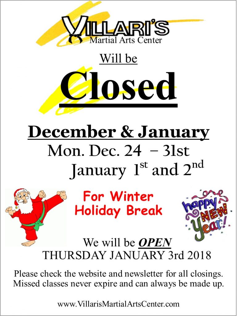 Villari's Closing Sign Holiday Break Dec 24-Jan 2 2018