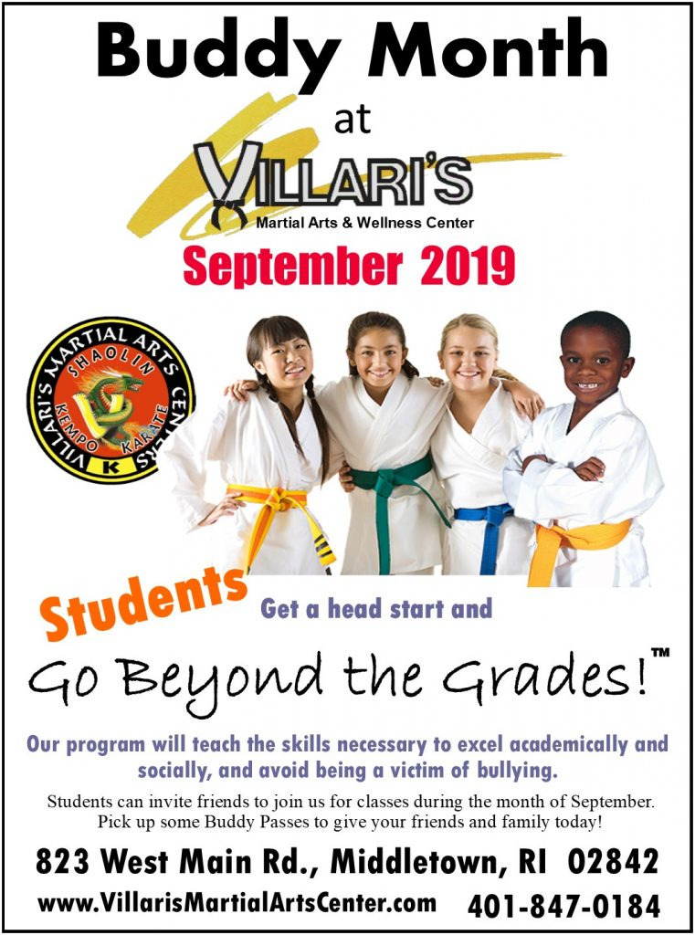 Villaris Martial Arts BUDDY MONTH Sep 2019 villaris-ri.com