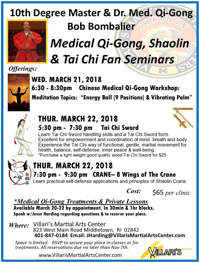 Villaris Martial Arts Middletown RI Workshops MARCH 21, 22 2018