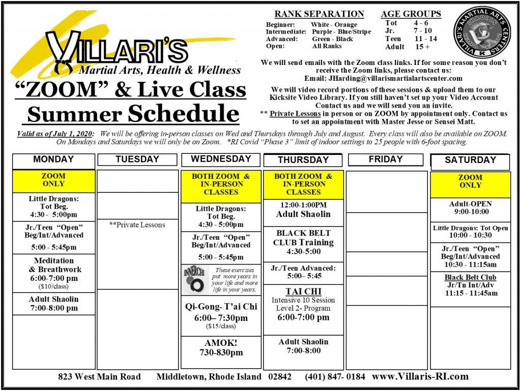 Villari's Martial Arts NEW SCHEDULE July 2020 ZOOM & In person Wed Thur CLASSES villaris-ri.com