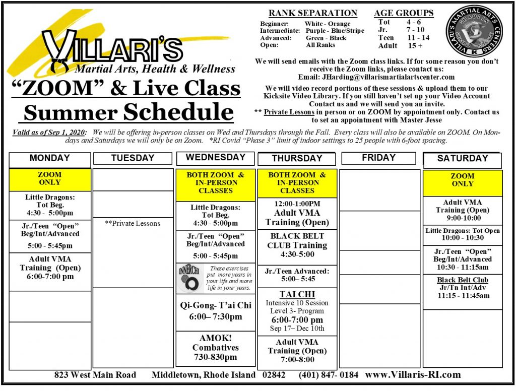 Villari's Martial Arts SCHEDULE FALL 2020 villaris-ri.com