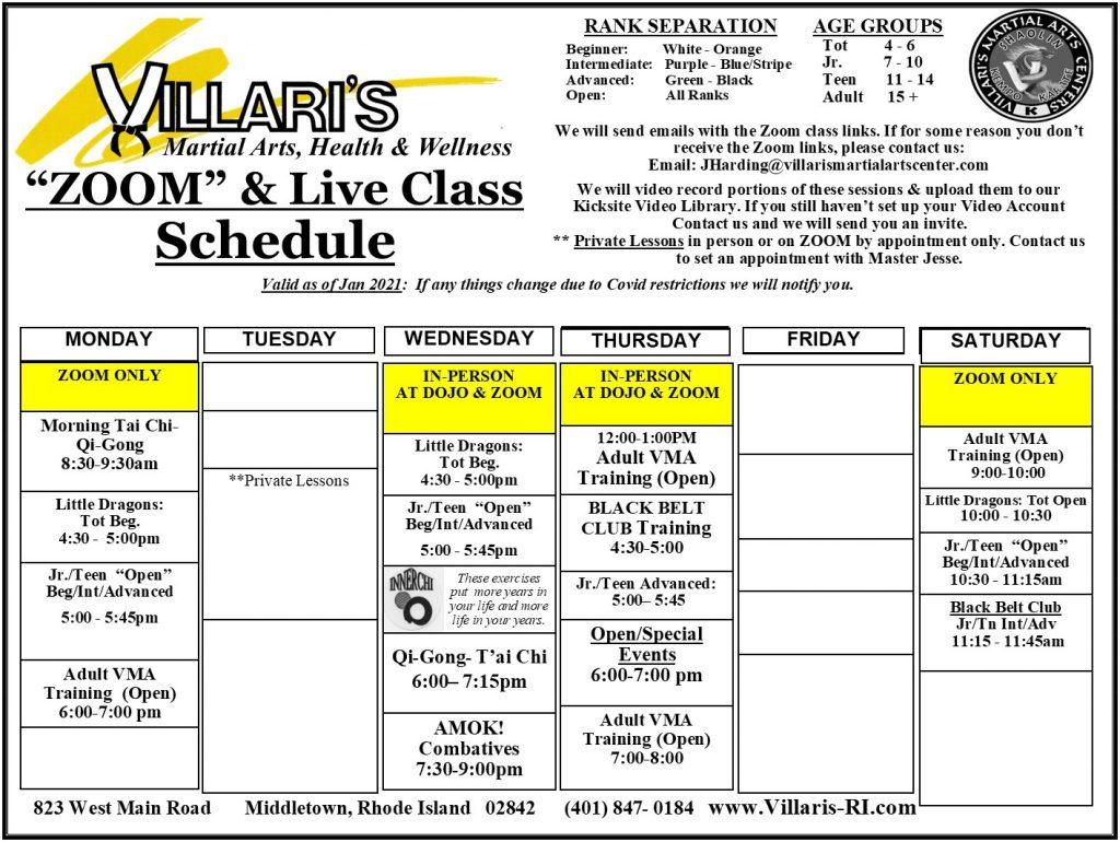 Villari's Martial Arts Schedule 2021 villaris-ri.com