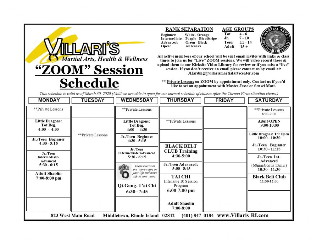 Villari's Schedule Zoom Schedule April 2020