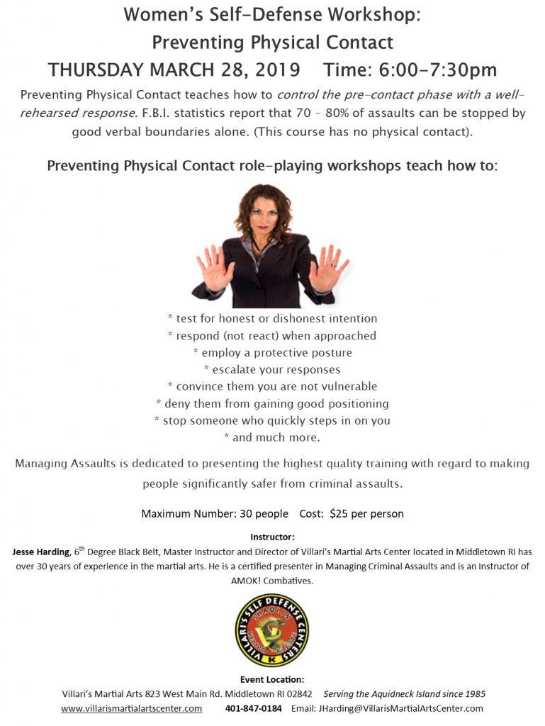 Women Self Defense workshop Managing Assaults THUR MAR 28 2019 villaris-ri.com