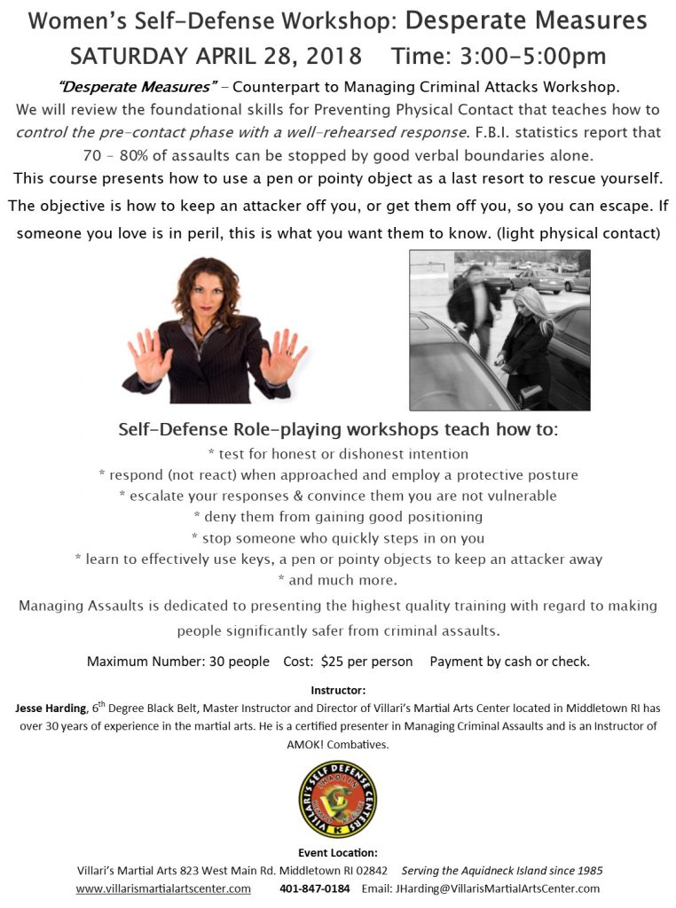Womens SelfDefense Sat April 28 2018 Villaris Martial Arts