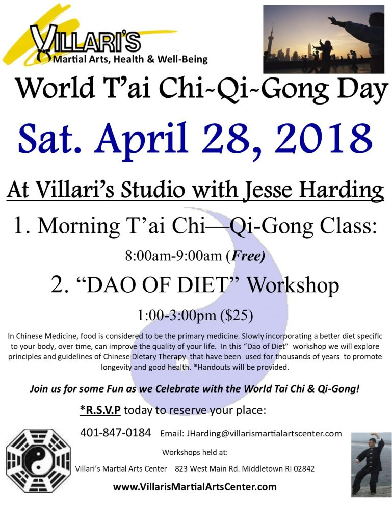 World Tai Chi Day DAO OF DIET Workshop at Villaris Martial Arts April 28 2018