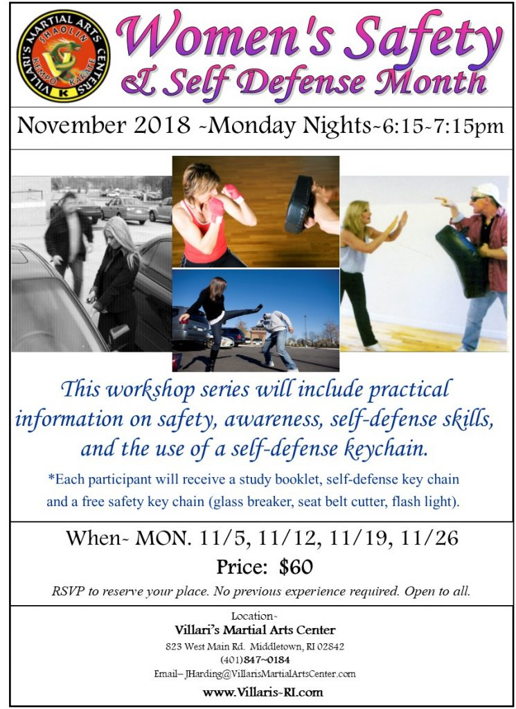 women's safety self defense month NOV 2018 Villari's Martial Arts Middletown RI www.villaris-ri.com