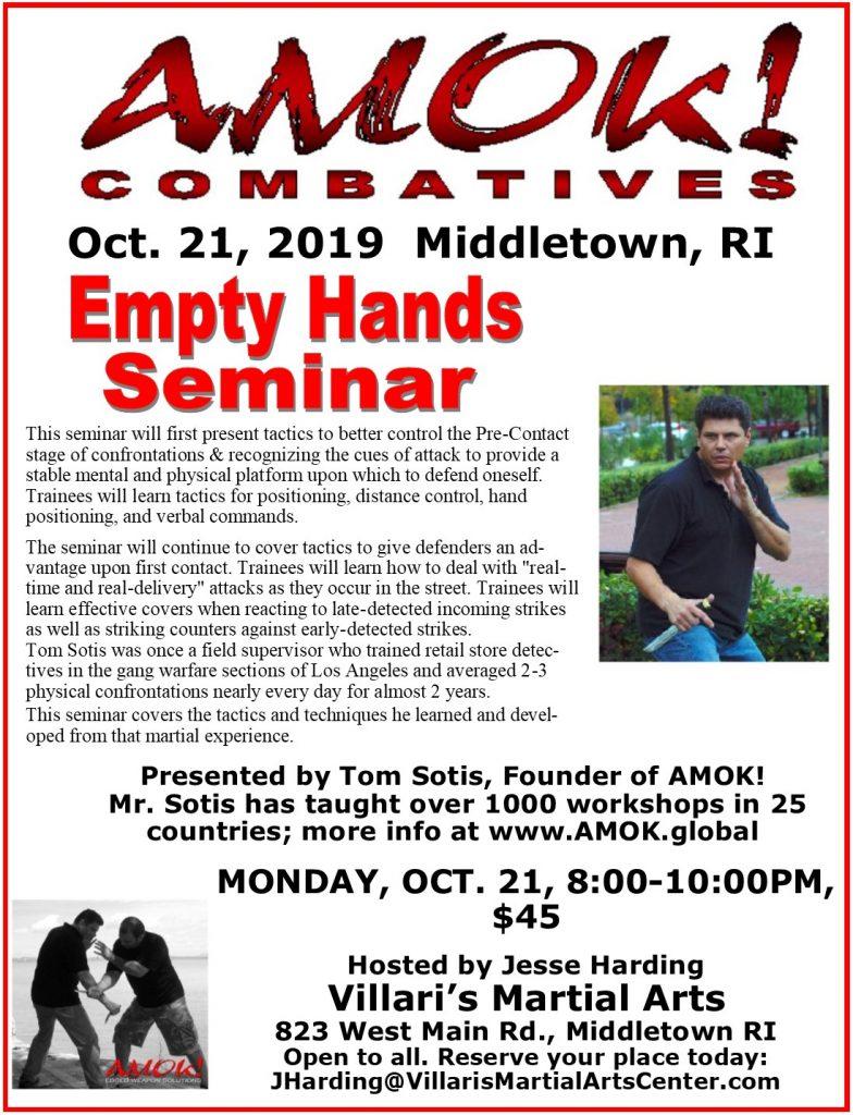 AMOK! Empty Hands Seminar Oct 21 2019 Tom Sotis Jesse Harding Villaris-RI.com Villari's Martial Arts Middletown RI