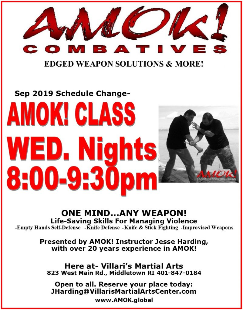 AMOK combatives training Wed Nights 8-930pm Villaris Martial Arts Jesse Harding Tom Sotis villaris-ri.com