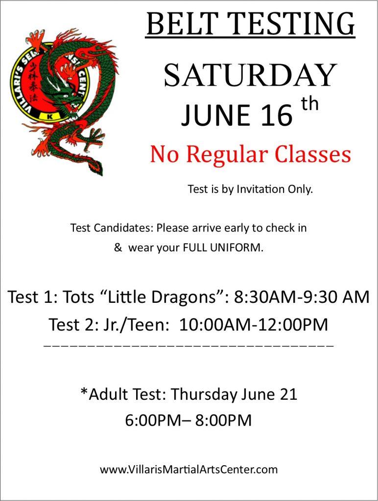 Belt Test June 16 2018