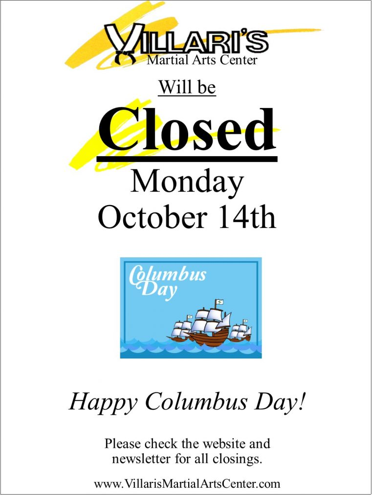 Columbas Day closed Oct 14 2019 villaris