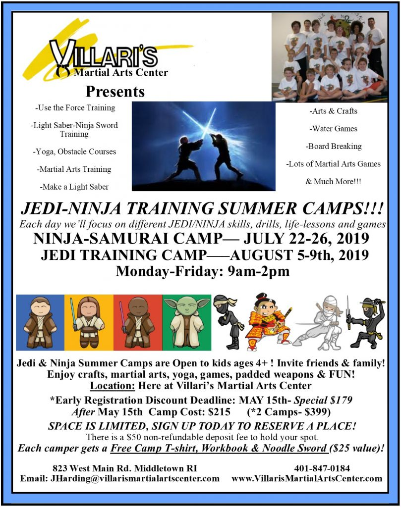 Jedi and Ninja Samurai Summer Camps Villaris Martial Arts Middletown RI July & Aug 2019 villaris-ri.com