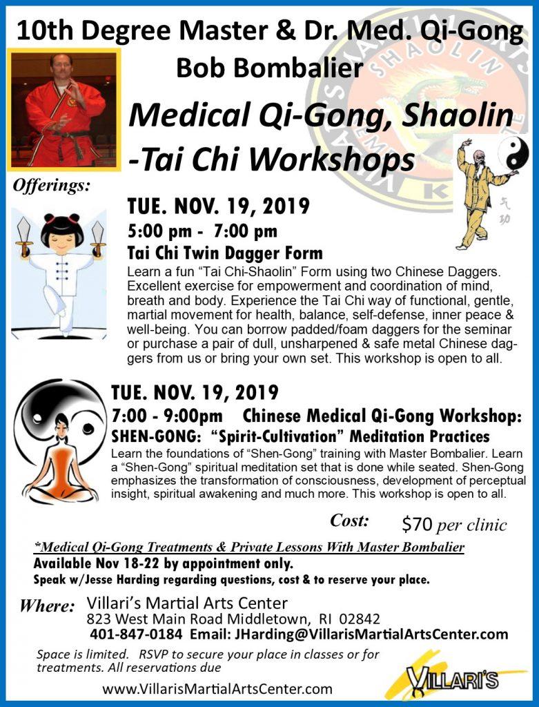 M Bombalier Workshops Tue Nov 19 2019 Tai Chi Dagger Form Shen Gong Villaris-Ri.com Villaris Middletown RI