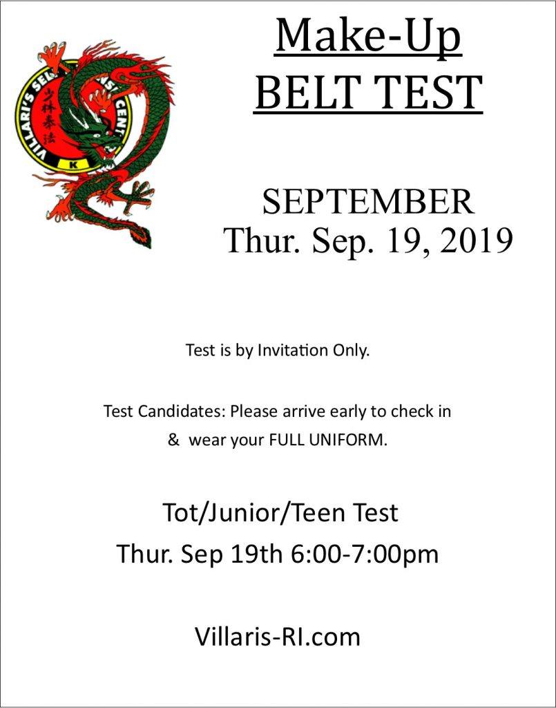 Make up belt test sep 2019 villaris-ri.com
