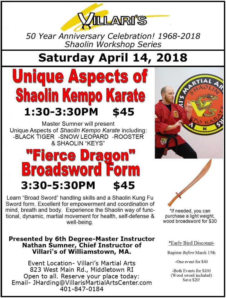 Master Sumner Shaolin Workshops April 14 2018 Villari's MiddletownRI