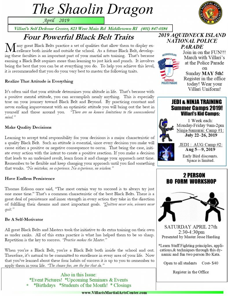 Villari's Martial Arts NEWSLETTER APRIL 2019 P1