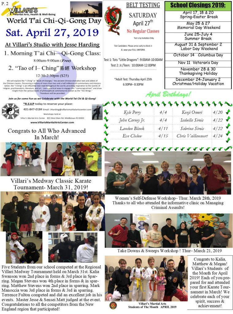 Villari's Martial Arts NEWSLETTER APRIL 2019 P2