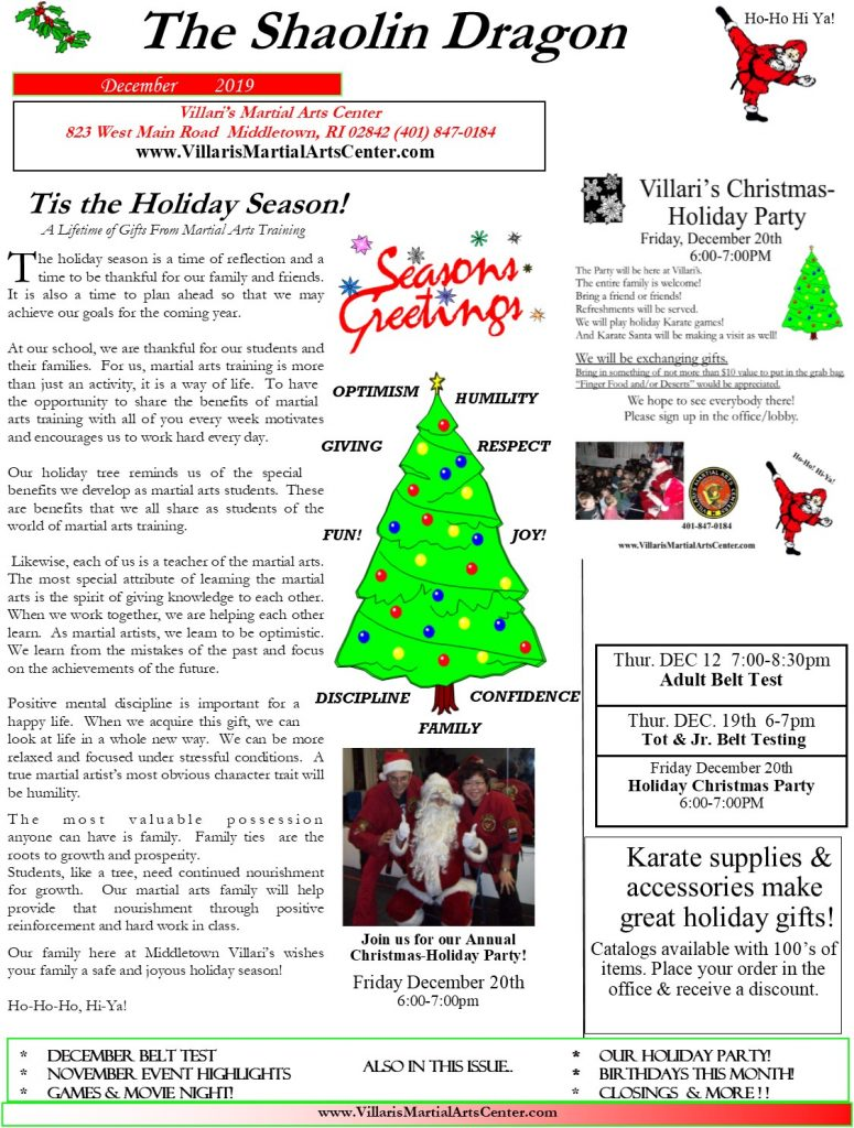 Villari's Martial Arts NEWSLETTER DEC 2019 p1
