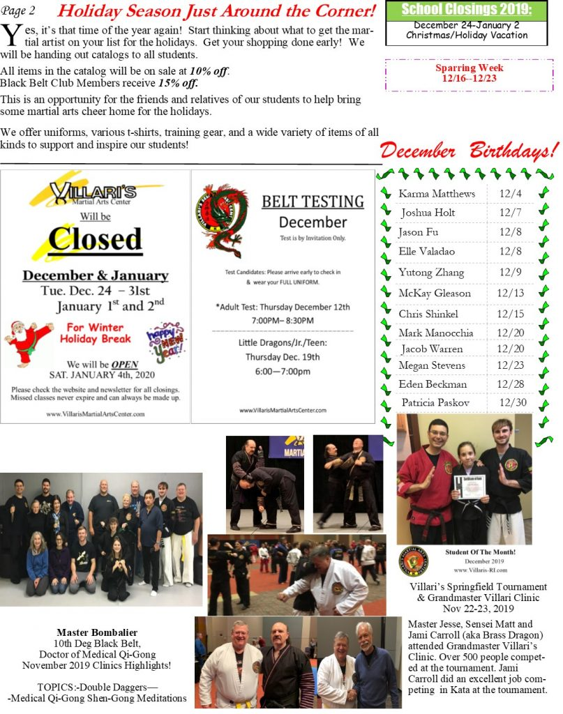 Villari's Martial Arts NEWSLETTER DEC 2019 p2