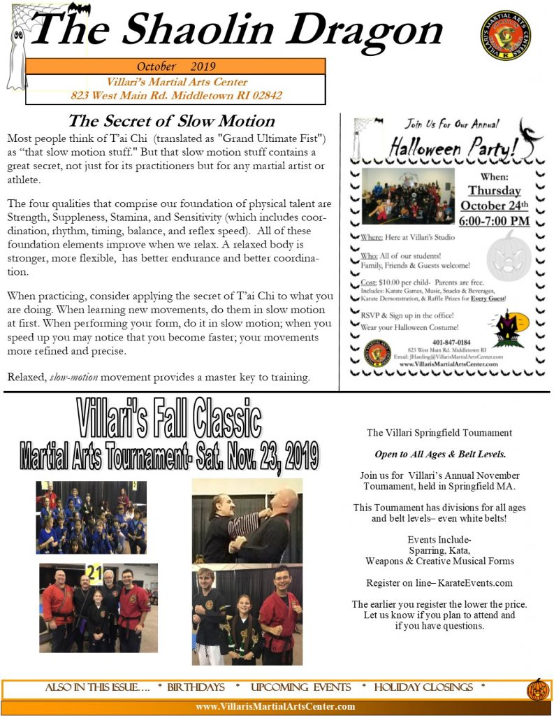 Villari's Martial Arts NEWSLETTER OCT 2019 p1 villaris-ri.com