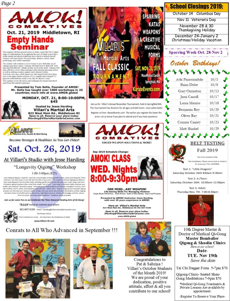 Villari's Martial Arts NEWSLETTER OCT 2019 p2 villaris-ri.com
